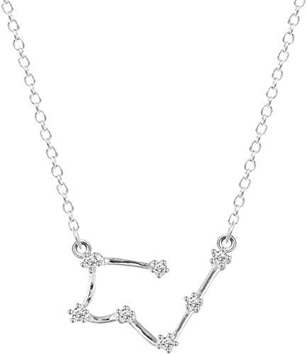 Yiffshunl Collar con Colgante astrológico de la constelación de Tauro para Mujer, Cadena Larga sólida de la Suerte, Gargantilla de Color Plateado, Regalo de cumpleaños