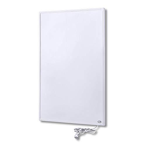 UISEBRT Calefacción por infrarrojos con termostato, 800 W, panel de calefacción por infrarrojos con protección contra sobrecalentamiento, enchufe y panel de calefacción, color blanco