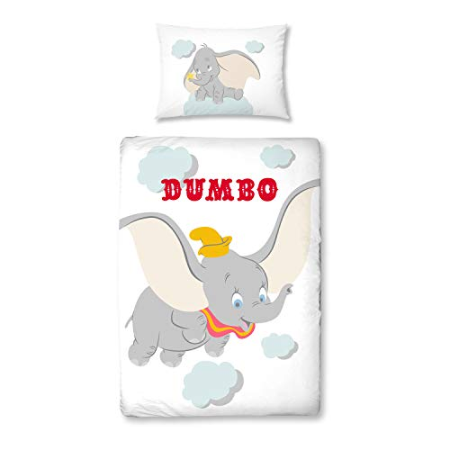 DUMBO Babybettwäsche ☆ Kinderbettwäsche für Mädchen & Jungen ☆ Disney 's Dumbo Elefant - 1 Kissenbezug 40x60 + 1 Bettbezug 100x135 cm