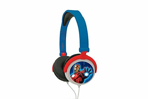 Lexibook Marvel Avengers Iron Man Casque audio stéréo, puissance sonore limitée, pliable et ajustable, rouge/bleu, HP010AV.