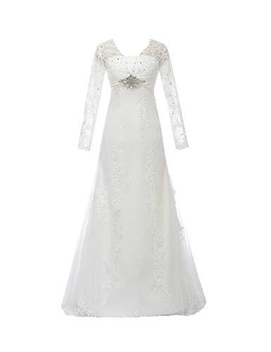 CoCogirls Vestido de novia de encaje, con gorro, con perlas, corsé, con agujero en la espalda, vestido de novia, talla grande Color blanco. 38