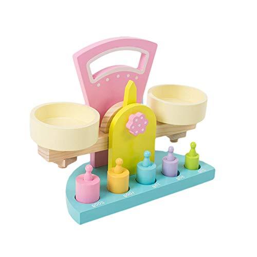 ZY123 Juguete de balanza de Madera, Juguetes de Equilibrio con Pesas Juguetes de Inteligencia para niños y niñas de Aprendizaje temprano de Peso para niños y niñas