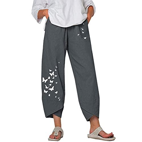 Pantalones Casuales De Verano para Mujer Pantalones Anchos Estampados Sueltos