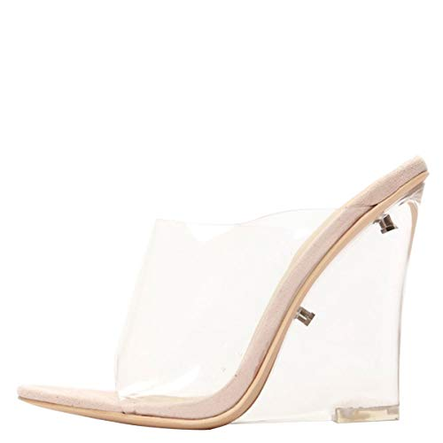 Cape Robbin Womens Open Toe Clear Transparent Lucite Wedge Heel Mules Pump Sandals Shoes 7 Nude