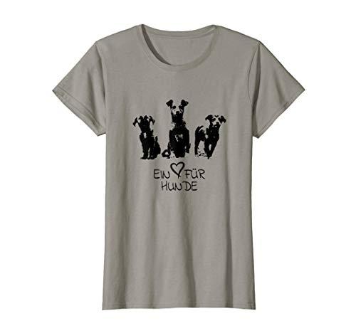Damen Ein Herz für Hunde T-Shirt | Mischlings Hunde Welpen