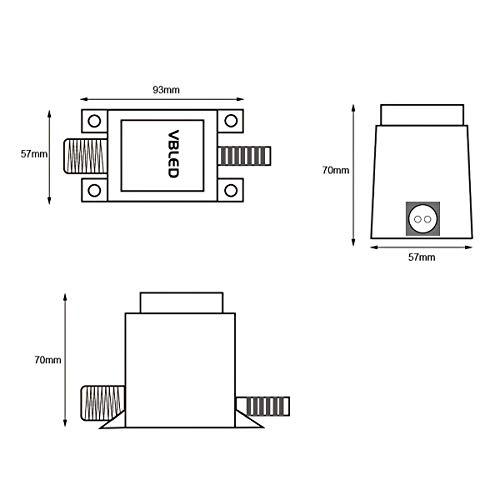 VBLED® 45W Netzteil/Trafo/Transformator 12V AC wassergeschützt IP67 für Außen- & Innenbereich, Input 230V Anschluss 1,9 m Kabel für Gartenbeleuchtung, Strahler, Spots, etc [max. Dauerlast 85%]