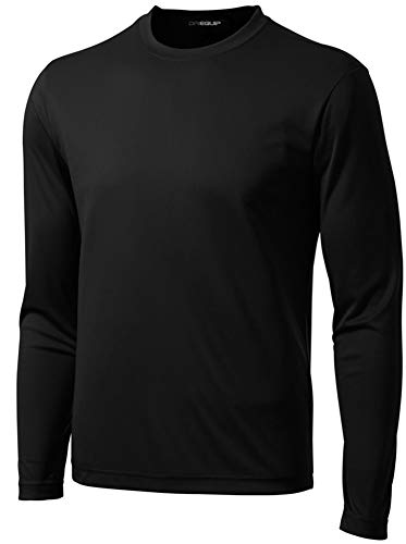 DRI-EQUIP Long Sleeve Moisture Wicking Athletic Shirts in Mens, Black, Medium