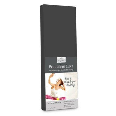 2 stuks 60 x 70 cm grote kussenslopen van katoen voor een tweepersoonsbed in zwart grijs van Bed-Fashion