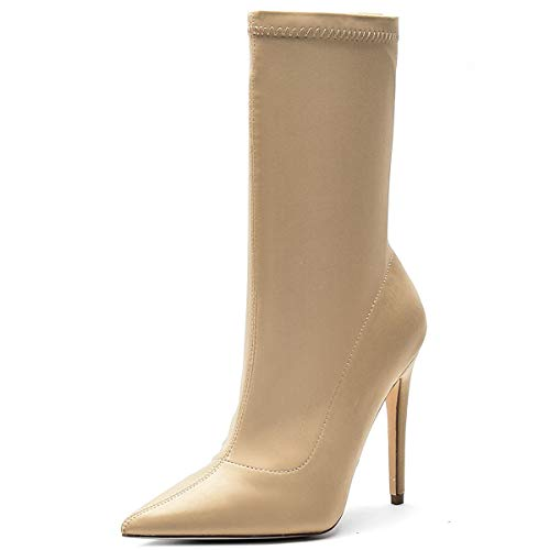 Kitulandy Damen Stiefel Stretch Stiletto High Heels Ankle Shoes Pointed Toe, Beige (nude), 37 EU