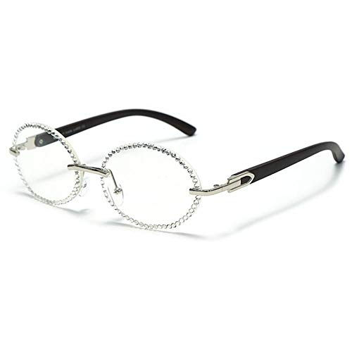FRGH Gafas De Sol Sin Montura De Diamantes Gafas De Sol Ovaladas De Cristal Gafas De Sol Vintage Uv400Gafas De Sol Lentes Transparentes