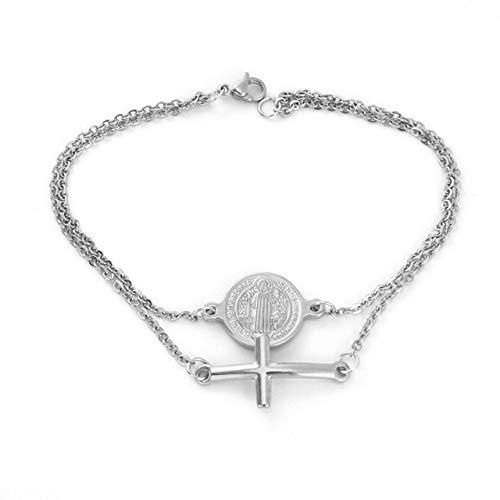 YEESEU Acero Inoxidable Saint Benedict Medal Cruz Encanto Dorado/Plata Color Religioso Pulsera Católica Pulsera Pulsera Catolica (Length : 17cm, Metal Color : Silver)