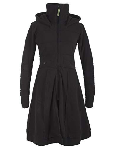 Vishes - Alternative Bekleidung - Langer Damen Fleecemantel Kapuze Stehkragen schwarz 38