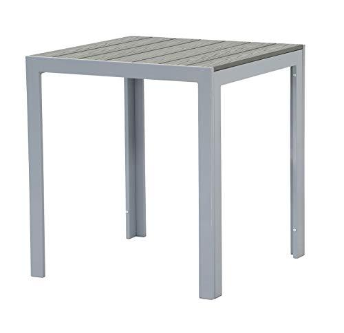 Pure Home & Garden Aluminium Gartentisch Fire Square mit Polywood Tischplatte, 60 x 60 cm absolut wetterfest, Silber