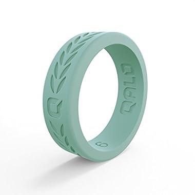 QALO Women's Flat Q2X Silicone Ring, Aloe Green Laurel, Size 7