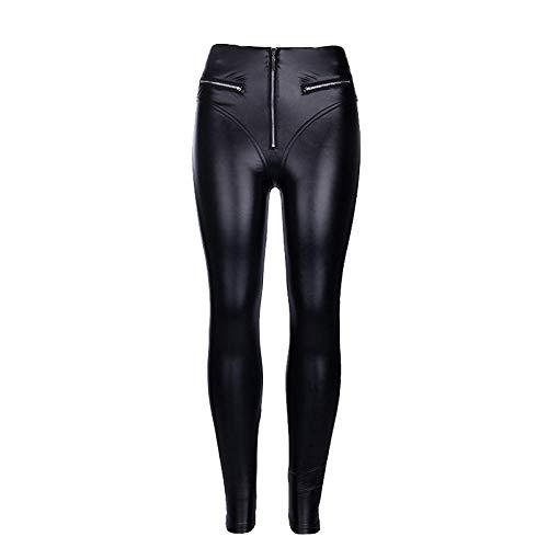 Pantaloni Donna Leggings Leggings in Pelle Pu con Cerniera Sexy Leggings A Vita Alta Patchwork Skinny Neri Leggings Push-Up Senza Cuciture in Feltro-Black_S