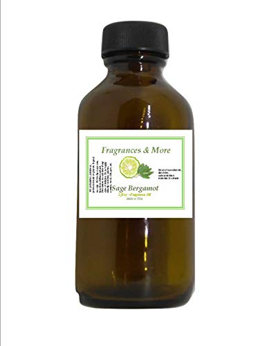 SAGE Bergamot Fragrance Oil| for Soap Making| Candle Making| for Use with Diffusers| Add to Bath & Body Products| Home and Office Scents| 2 oz Amber Glass Bottle