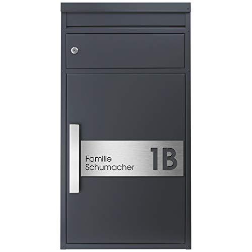 Paketbriefkasten SafePost 65MS inkl. Hausnummer- und Namensschild graviert V4A-Edelstahl/anthrazit RAL 7016 Design-Paketkasten modern für alle Paketdienste Paketbox mit Briefkasten Standbriefkasten