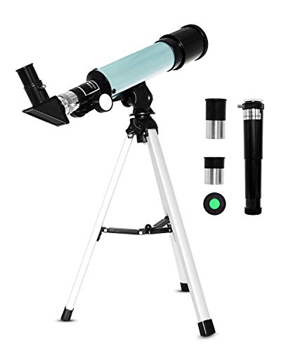 Junnom Kids Astronomical Telescope, Professional 90X Astronomical Landscape Telescope with Tripod, 2 Magnification Eyepieces, 1.5X Barlow Len, Early Science Educational Toys for Children