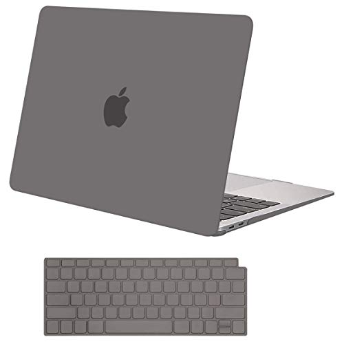MOSISO Compatible with MacBook Air 13 inch Case 2020 2019 2018 Release A2337 M1 A2179 A1932 Retina Display with Touch ID, Protective Plastic Hard Shell Case & Keyboard Cover Skin, Gray