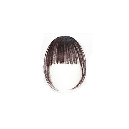 Maxpex Frange a Clip, Frange a Clip Cheveux Naturel Extension Naturelle Des Cheveux Frange a Clip Postiche Noir, Marron Noir, Marron Foncé, Marron Clair (C)