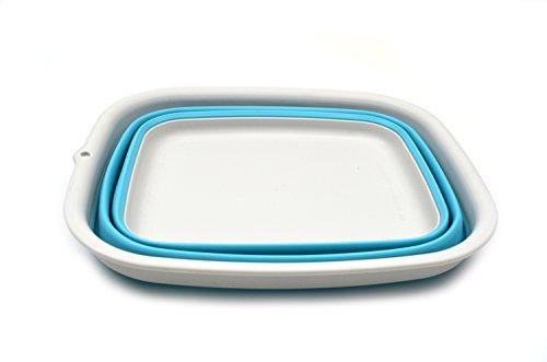 31Mbhku92FL - SAMMART 9.45L (2.5 Gallon) Collapsible Tub - Foldable Dish Tub - Portable Washing Basin - Space Saving Plastic Washtub (Bright Blue, M)