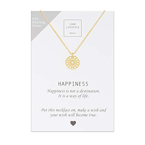 LUUK LIFESTYLE Collar de plata de ley 925 con colgante de mandalas y cita Happiness, joya de mujer, tarjeta de regalo, amuleto, oro
