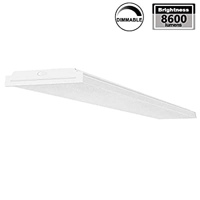 AntLux 72W LED Wraparound Lights 4FT LED Office Ceiling Light, 1-10V Dimmable, 8600 Lumens, 4000K Neutral White, 4 Foot Flush Mount Garage Shop Lighting Fixture, Fluorescent Light Replacement