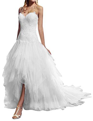 Princessin bruidsjurk, zonder schouders, kant, tule, bruiloftsjurk, mouwloos, bruidsjurk, voorkant, korte achterkant, lange bruidsmode voor dames, avondjurken met sleep