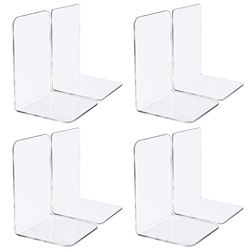 """Jekkis 8pcs Bookends Clear Acrylic Bookends for Shelves Plastic Bookends for Home Office Library Heavy Duty Book Ends Book Stopper Desktop Organizer 73"""" x 48"""" x 48"""""""