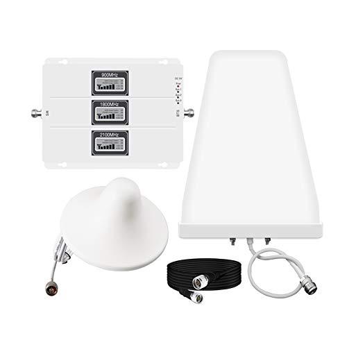 Fangfang Booster de señal de teléfono Celular, 900/1800 / 2100MHz BRANGO Tri-Banda Booster 2G 3G 4G Amplificador DE Amplificador Aumento Datos DE Voz para Inicio gsm DCS WCDMA