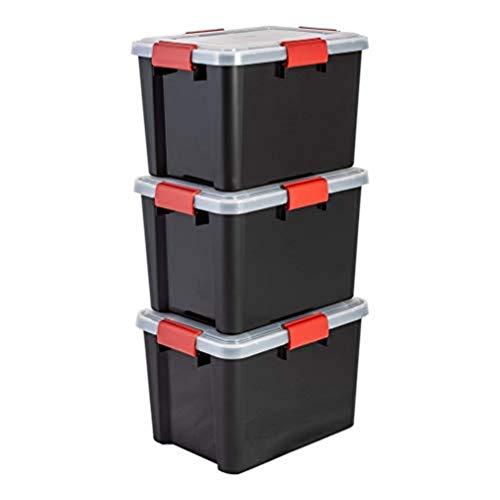 Iris Ohyama, set di 3 scatole di immagazzinaggio / scatole ermetiche - Air Tight Box - AT-SD, plastica, nero, 20 L, 39 x 29 x 26 cm