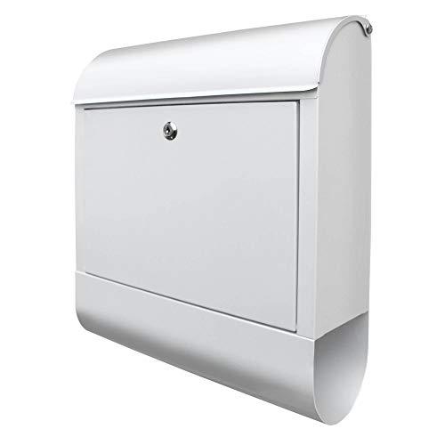 BANJADO Design Briefkasten weiß | 38x47x13cm mit Zeitungsfach | Stahl pulverbeschichtet | Wandbriefkasten DIN A4 groß | Postkasten modern Wand & Zaunmontage