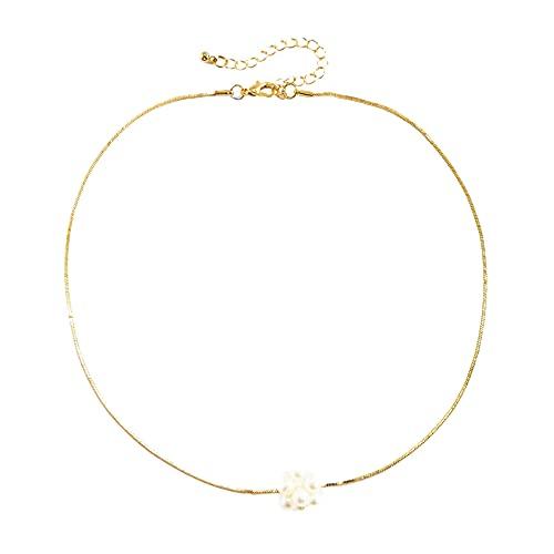 Fiauli Collar de las mujeres de la moda de la serpiente de la cadena anti óxido de la perla de imitación de la flor colgante gargantilla encanto mujeres chapado en oro joyería regalo para banquete -
