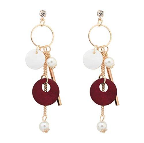 Orecchini nuovi accessori pop nappa conchiglia orecchini di perle ragazza lunga temperamento orecchini in legno fatti a mano -B