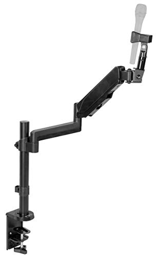 VIVO Black Height Adjustable Pneumatic Spring Microphone Counterbalance Arm Mount | Compact Mic Stand with Mounting Clamp (STAND-MIC01)