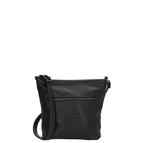 Enrico Benetti Vegan Leather Single Handle Shoulder Bag with Long Strap & Multiple Compartments - Genuine Faux Leather Handbag - 66437 (Black)