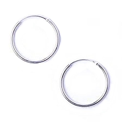 Orecchini ad anello, in argento Sterling, piccoli, estremità a cerniera, 10 mm.