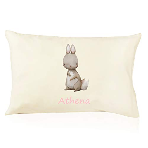 DorDor & GorGor Personalized Toddler Pillow with Watercolor Pillowcase, Ultra Soft Organic Cotton, Giftable Box, 13 X 18 inches, Rabbit