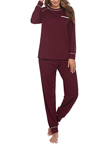 Ekouaer Pajamas Set Womens Long Sleeve Sleepwear Soft Cotton Classic Loungewear Pj Set Wine Red