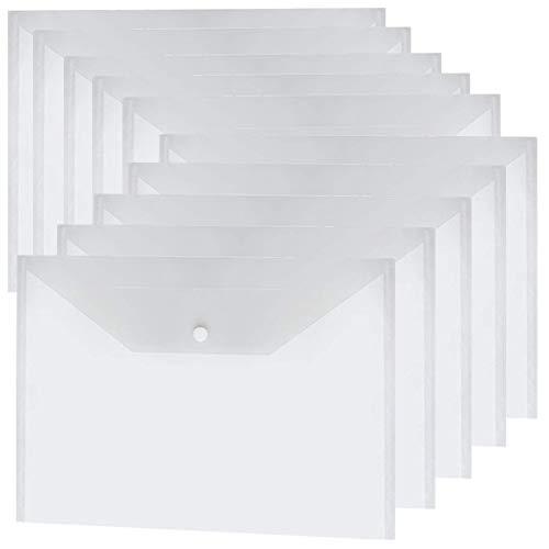 Carpeta A4 Transparente 24 Unidades,Carpetas Plastico Dossieres Documentos Almacenamiento,Carpeta Impermeable de Sobres con Botón, Guardar Documentos