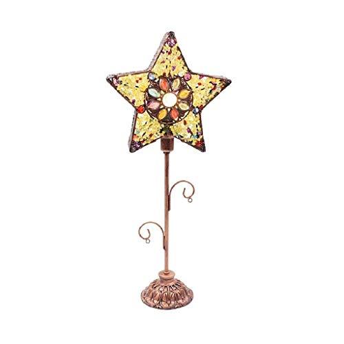 NXYJD Forma Retro lámpara de Mesa de la Estrella Hecha a Mano Cuentas Regulable Dormitorio lámpara de cabecera, Restaurante de Estilo Mediterráneo luz del Escritorio