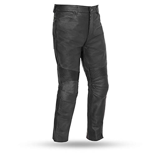 First Mfg Co Men's Smarty Leather Motorcycle Pants (Black, 34)