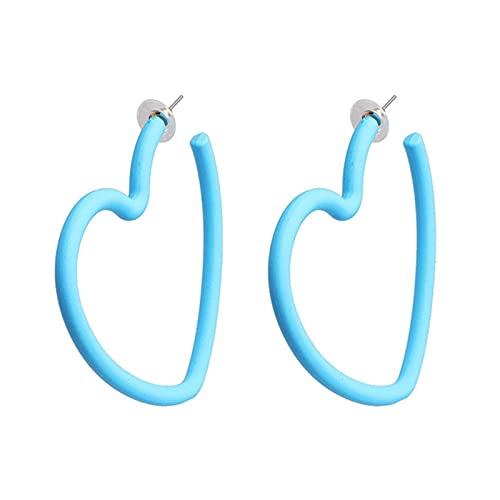 QIN 1 par de Pendientes Grandes exagerados en Forma de corazón de Color Caramelo, Pendientes de aro Dulces de Moda con Abertura Hueca, joyería