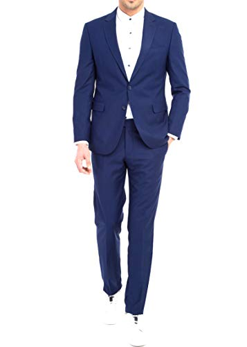 keskin collection Herren Anzug Blau Slim Fit Modern Fit Red Label (54, EdelBlau)