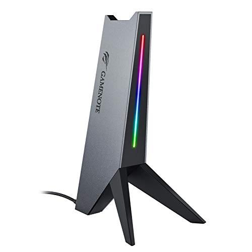 Gamenote Soporte para Auriculares RGB con 2 Cargador USB Soporte Auriculares, Soporte de Cascos Gaming para PC/Netbook,Negro(TH644U)