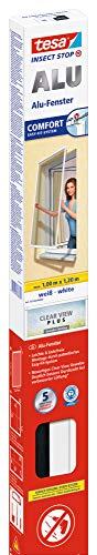tesa Insect Stop ALU COMFORT Fliegengitter für Fenster - Insektenschutz mit Rahmen aus Aluminium - Fliegen Netz ohne Bohren - Weiß, 100 cm x 120 cm