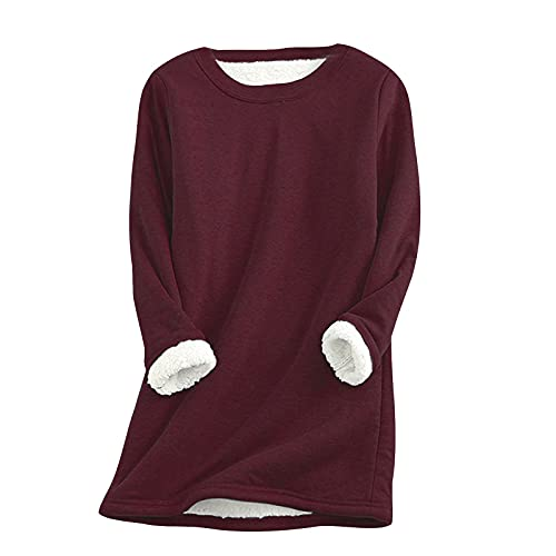 BEUU Womens Girls Winter Warm Sherpa Fleece Lined Soft Crewneck Pullover Sweatshirt Tops Solid Color Loungewear Christmas Hat for Family Ceremony Party Gift for Wife for Daughter for Dad