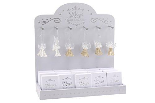 Vetro da appendere angelo decorativo con glitter argentati matrimonio albero di Natale