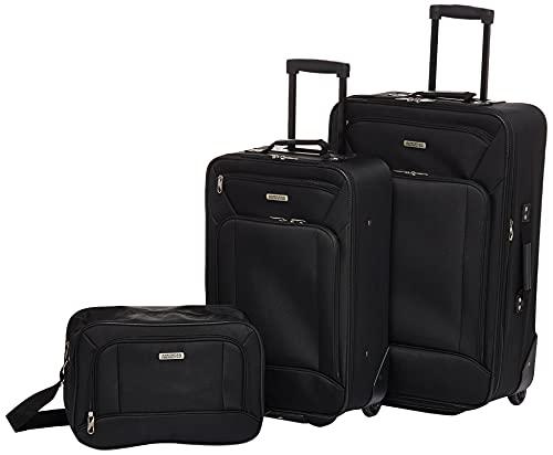 American Tourister Fieldbrook XLT Softside Upright Luggage, Black, 3-Piece Set (BB/21/25)