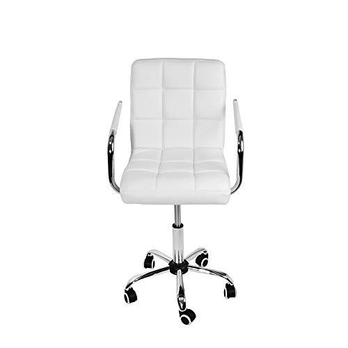 Silla de oficina de cuero de la PU Silla de escritorio giratoria ajustable de altura con patas cromadas